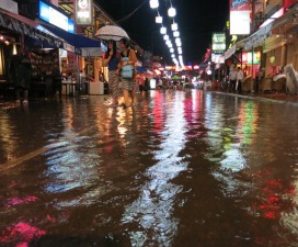 the flooded street one night in Siem Reap after a storm