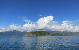 View back to the mainland from the dive boat off Nah Trang
