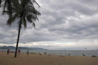 The cocnut tree-lined beach at Nah Trang