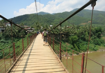 The bridge to our accommodation in Muang Khua