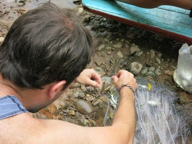 The fishing trip (retrieving the catch) in Muang Ngoi Neua