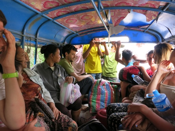 All packed in on the bus to Luang Prabang