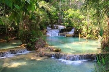 The beautiful Tat Kuang Si Waterfalls, near Luang Prabang