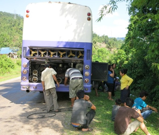 Our broken down bus on route to Vientiane