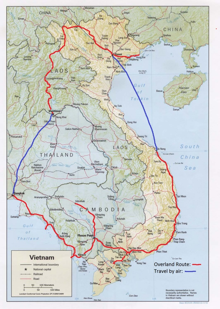 The route we took through South East Asia