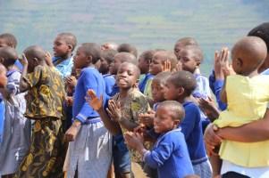 Primary school visit beside Lake Bunyonyi