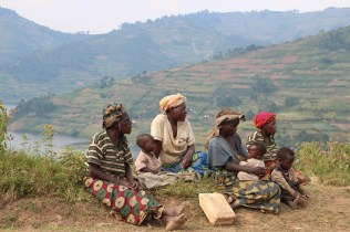 Pygmy village beside Lake Bunyonyi
