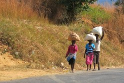 Locals in Malawi - hardly any cars in the country, everything on foot