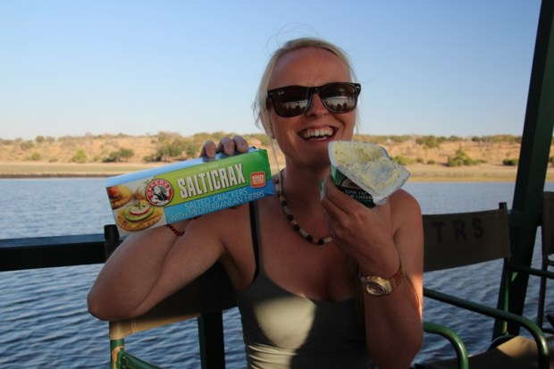 Tasty 'Salticrax' crackers on our sunset cruise on the Chobe River