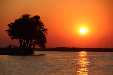 Sunset from our boat on the Chobe River