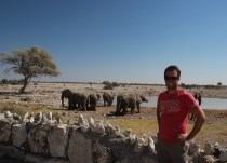 Etosha National Park - Ian watching the Elephants at beside the waterhole at the campsite