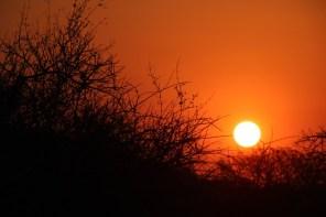 Sunset at the desert camp near Kamanjab, Namibia