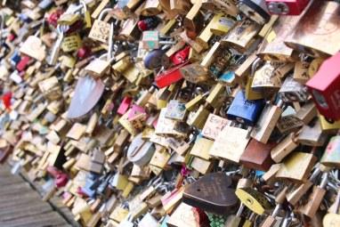 The padlocks on the 'love' bridge in Paris