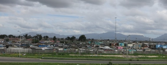 A 'township' on the outskirts of Cape Town, not a place to stop the car