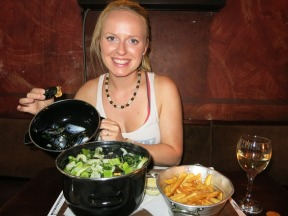 Belgian Mussels and fries at a restaurant called Passage