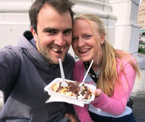Attractive couple with Belgian Waffle