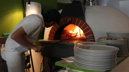 Woodfire pizza time in Perugia