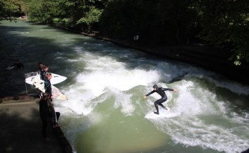 Surfing the river in the English Gardens, Munich