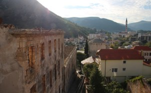 The view from our room in Mostar - including war damaged building on the left