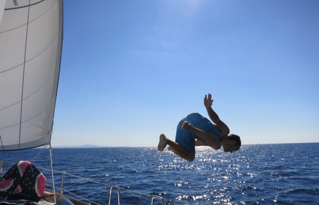 Swimming time on the way to the Island Korcula