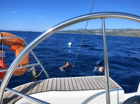 Swimming time on the way to the Island of Korcula