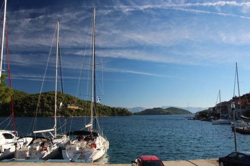 Beautiful morning on the Island of Mljet (our boat is the middle one)