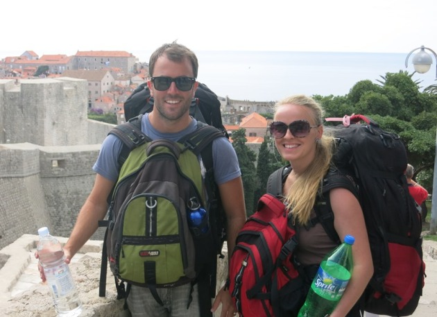 Walking down the hill into Dubrovnik, trying to shake off our sea legs!