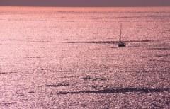 Golden ocean at sunset