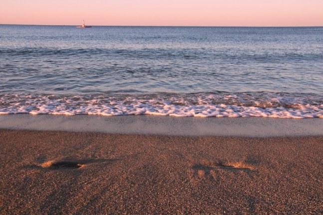 The beach at Alanya at sunset