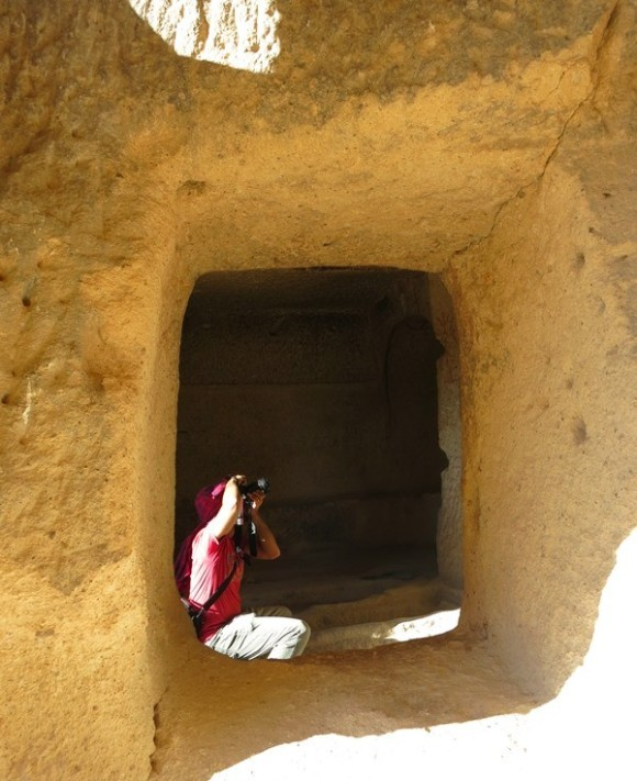 Photographing inside a cave, Rose Valley