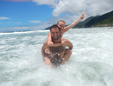 In the waves at Ilha Grande!