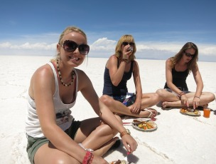 Stopping for lunch on the salt flats