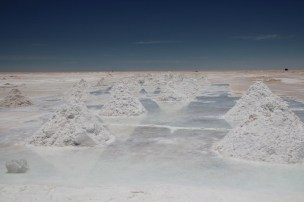 Salt piles prepared by the locals for refinement