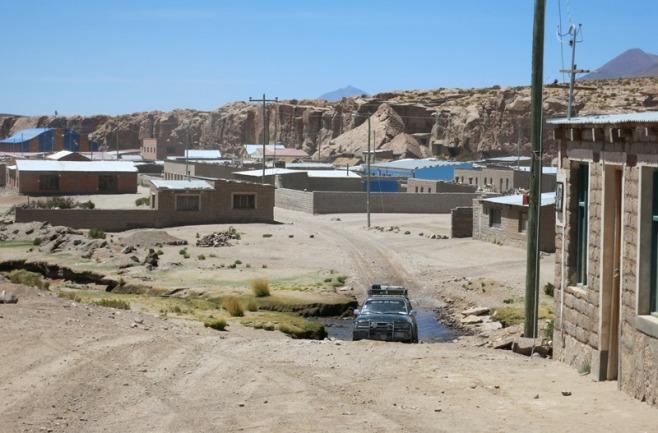 Driving through a remote town