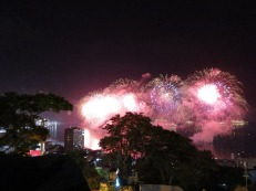 The view of the fireworks at midnight from the favela
