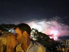 New Year kiss for the honeymooners!