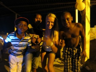 Danielle with the kids of the favela