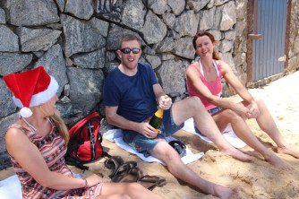 Christmas day champagne breakfast on the beach!