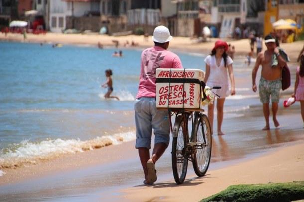 Oyster seller man on the main beach at Buzios